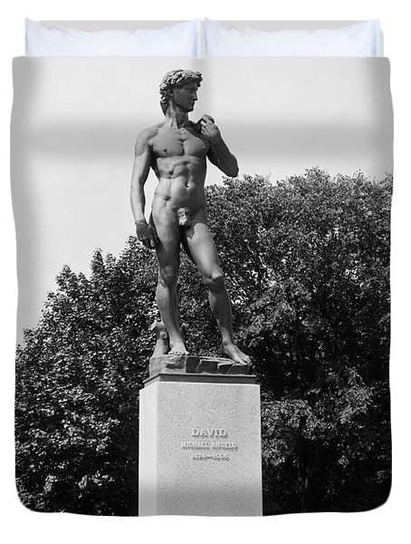 Statue Of David Delaware Park Buffalo Ny Duvet Cover by Digital Reproductions