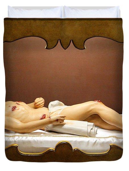 Statue Of Dead Christ Duvet Cover by Gaspar Avila