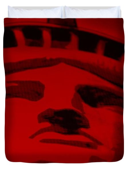 Statue Of Liberty In Red Duvet Cover by Rob Hans