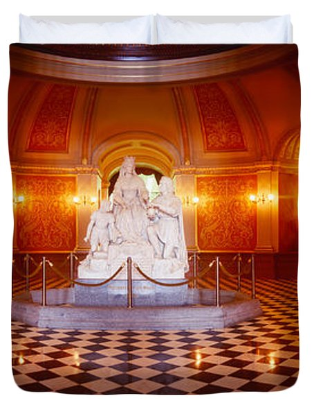 Statue Surrounded By A Railing Duvet Cover by Panoramic Images