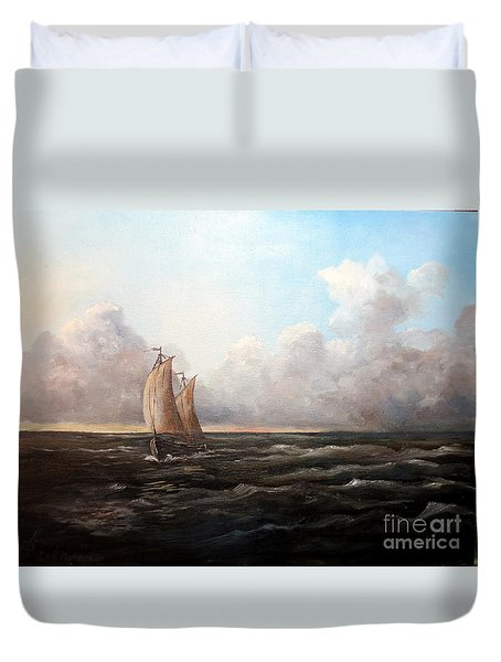 Staying Ahead Of The Weather Duvet Cover by Lee Piper