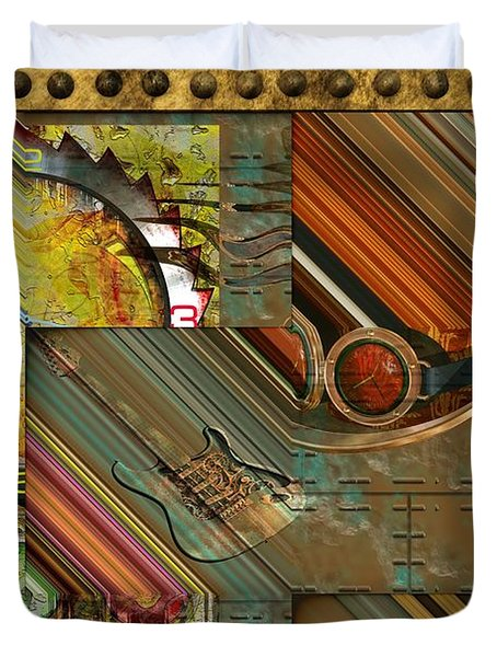 Steampunk Abstract Duvet Cover by Liane Wright