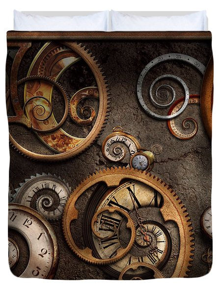 Steampunk - Abstract - Time is complicated Duvet Cover by Mike Savad