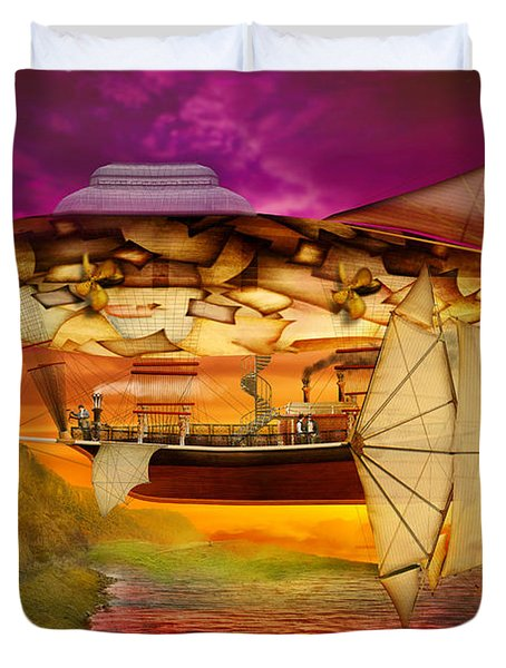 Steampunk - Blimp - Everlasting Wonder Duvet Cover by Mike Savad