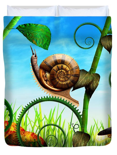 Steampunk - Bugs - Evolution Take Time Duvet Cover by Mike Savad