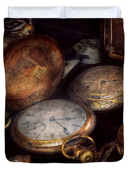 Steampunk - Clock - Time Worn Duvet Cover by Mike Savad