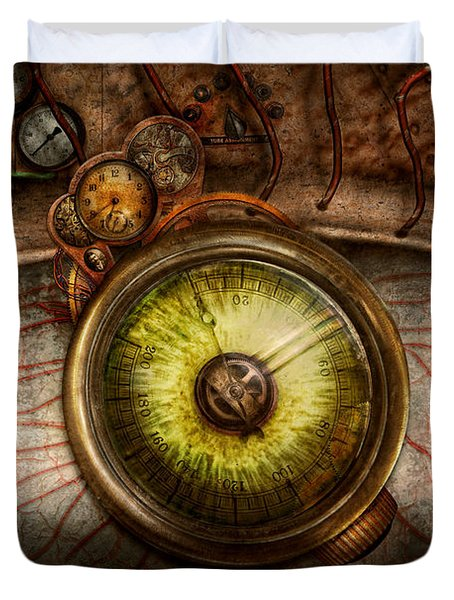 Steampunk - Creepy - Eye On Technology Duvet Cover by Mike Savad