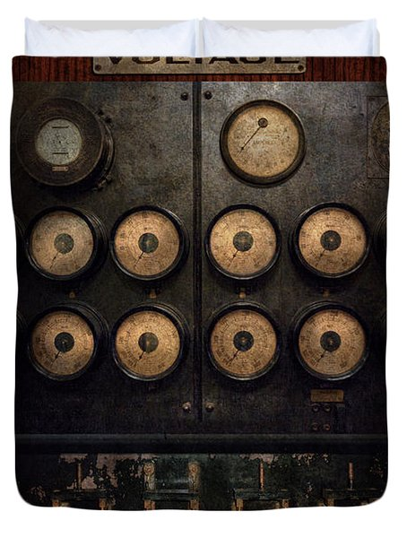 Steampunk - Electrical - Center of power Duvet Cover by Mike Savad