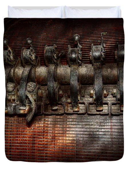 Steampunk - Electrical - Motorized  Duvet Cover by Mike Savad