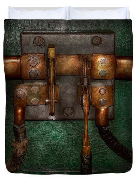 Steampunk - Electrical - Pull The Switch  Duvet Cover by Mike Savad