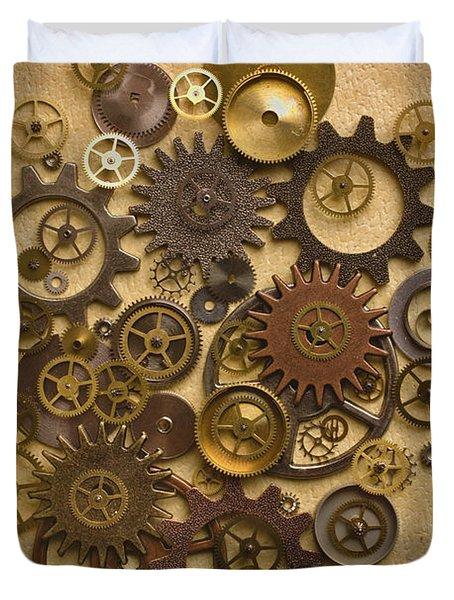 Steampunk Gears Duvet Cover by Diane Diederich