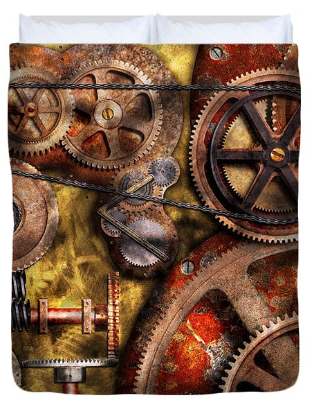 Steampunk - Gears - Inner Workings Duvet Cover by Mike Savad