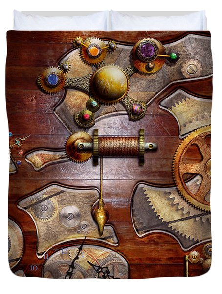 Steampunk - Gears - Reverse engineering Duvet Cover by Mike Savad