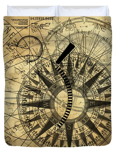 Steampunk Gold Compass Duvet Cover by James Christopher Hill