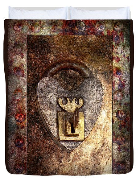 Steampunk - Locksmith - The Key To My Heart Duvet Cover by Mike Savad