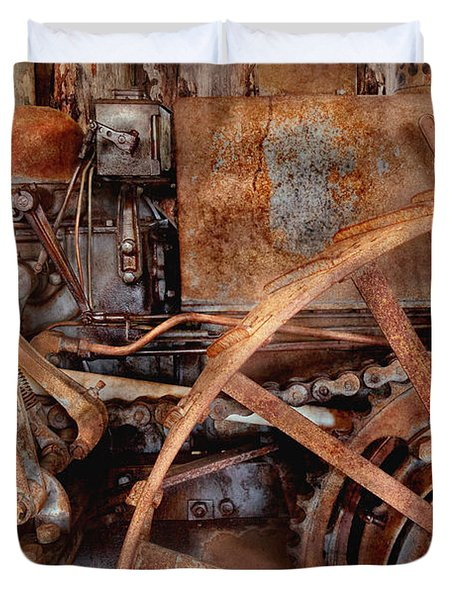Steampunk - Machine - The industrial age Duvet Cover by Mike Savad