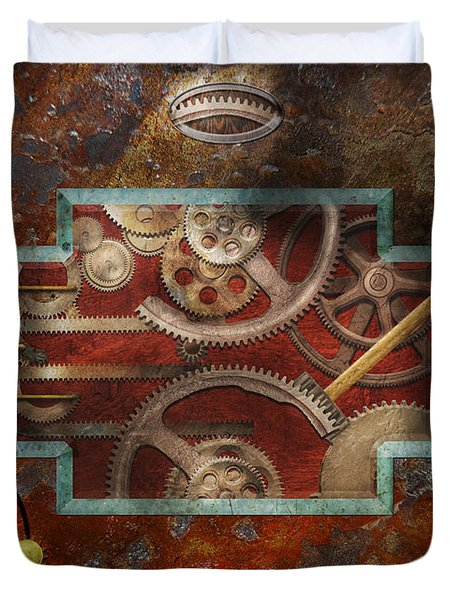 Steampunk - Pandora's box Duvet Cover by Mike Savad