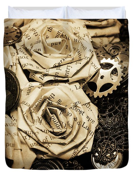 Steampunk Paper Roses Will Never Fade Duvet Cover by Lisa Knechtel