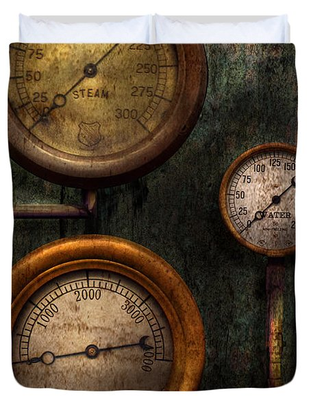 Steampunk - Plumbing - Gauging success Duvet Cover by Mike Savad