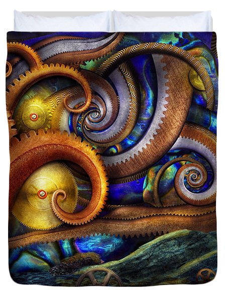 Steampunk - Starry night Duvet Cover by Mike Savad