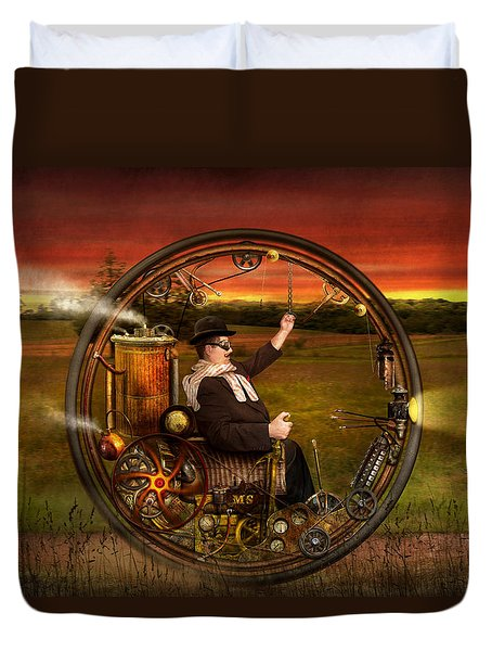 Steampunk - The Gentleman's Monowheel Duvet Cover by Mike Savad