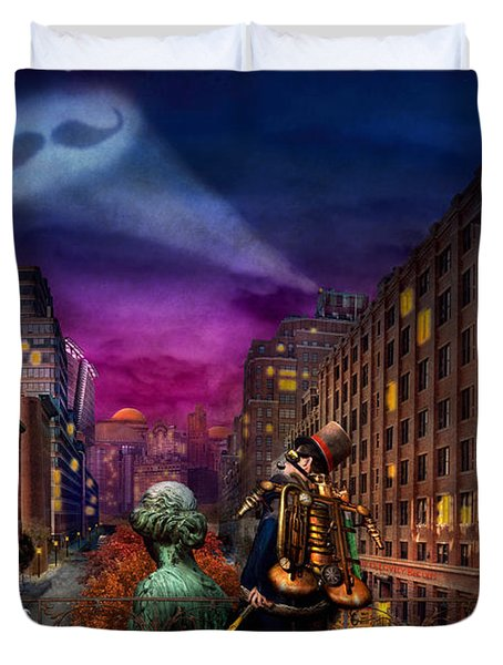 Steampunk - The Great Mustachio Duvet Cover by Mike Savad