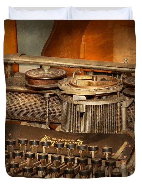 Steampunk - The history of typing Duvet Cover by Mike Savad