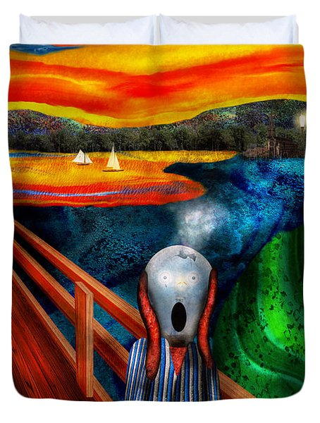 Steampunk - The scream Duvet Cover by Mike Savad