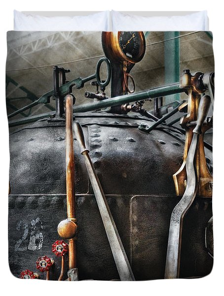 Steampunk - The Steam Engine Duvet Cover by Mike Savad