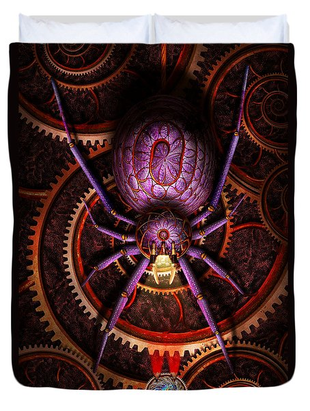 Steampunk - The Webs We Weave Duvet Cover by Mike Savad