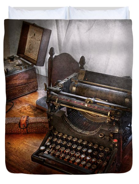Steampunk - Typewriter - The Secret Messenger  Duvet Cover by Mike Savad