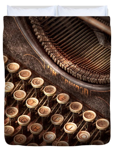 Steampunk - Typewriter - Too tuckered to type Duvet Cover by Mike Savad