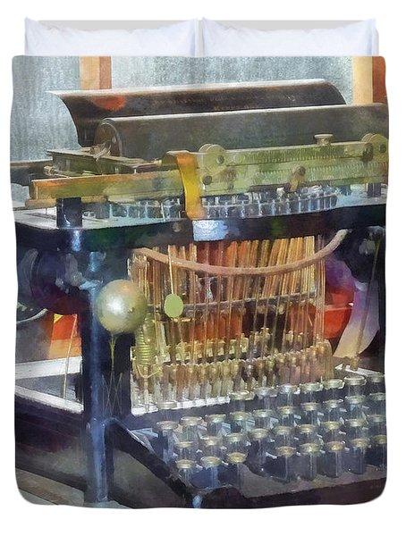 Steampunk - Vintage Typewriter Duvet Cover by Susan Savad