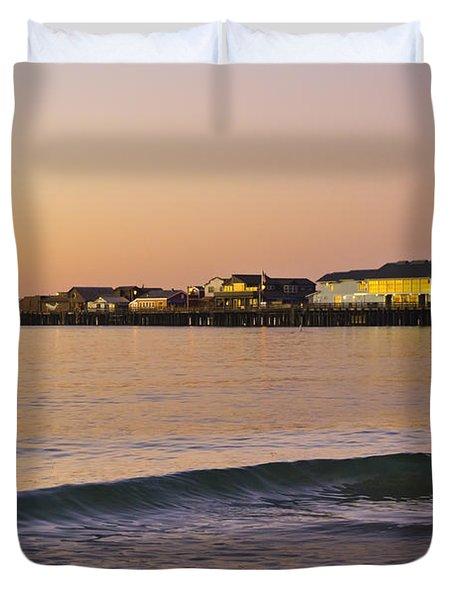 Stearns Wharf At Dawn Duvet Cover by Priya Ghose