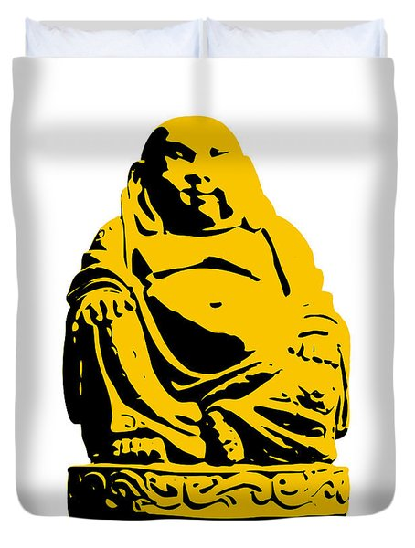 Stencil Buddha Yellow Duvet Cover by Pixel Chimp