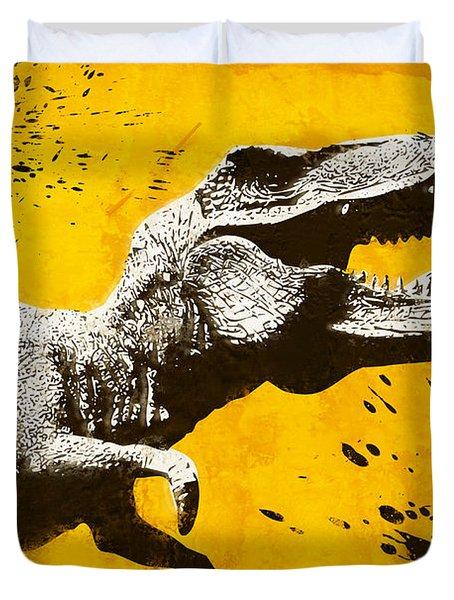 Stencil Trex Duvet Cover by Pixel Chimp