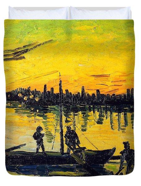 Stevedores In Arles Duvet Cover by Vincent van Gogh