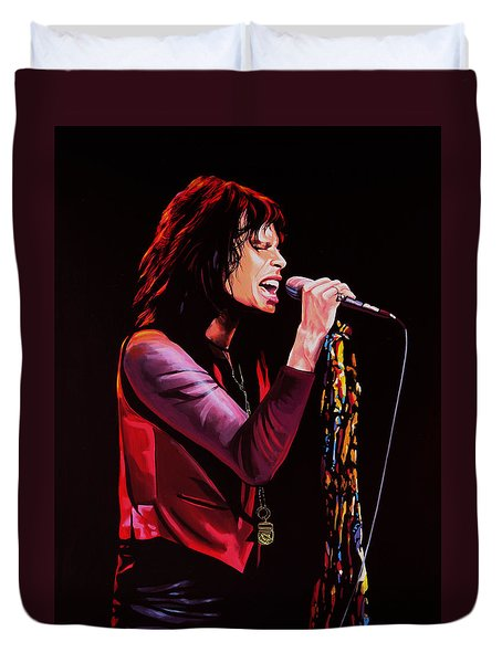 Steven Tyler In Aerosmith Duvet Cover by Paul Meijering