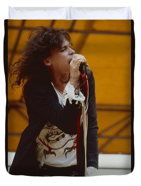 Steven Tyler Of Aerosmith At Monsters Of Rock In Oakland Ca Duvet Cover by Daniel Larsen