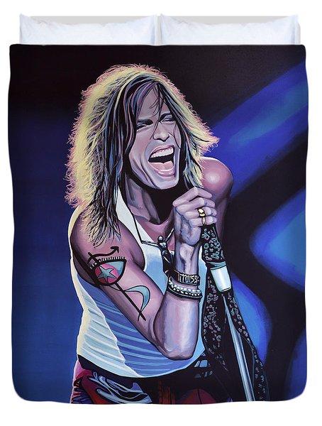 Steven Tyler Of Aerosmith Duvet Cover by Paul Meijering