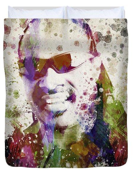 Stevie Wonder Portrait Duvet Cover by Aged Pixel