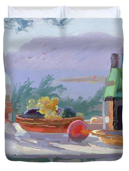 Still Life And Seashore Bandol Duvet Cover by Sarah Butterfield