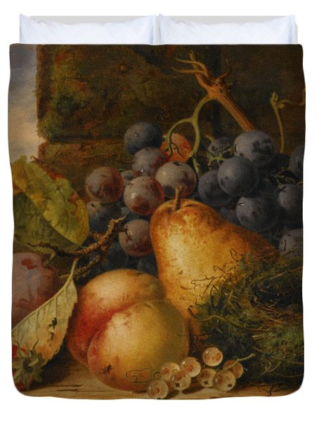 Still Life Grapes Pares Birds Nest Duvet Cover by Edward Ladell