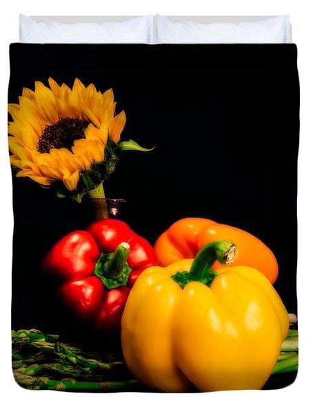 Still Life Peppers Asparagus Sunflower Duvet Cover by Jon Woodhams