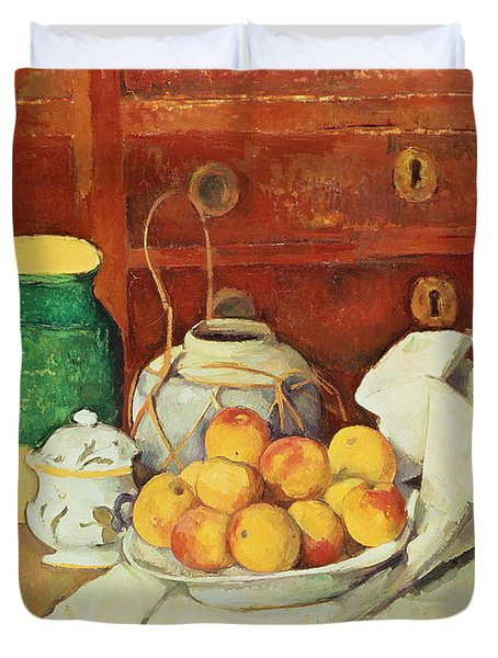 Still Life With A Chest Of Drawers Duvet Cover by Paul Cezanne