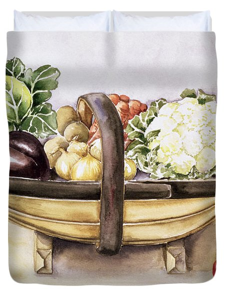 Still Life With A Trug Of Vegetables Duvet Cover by Alison Cooper