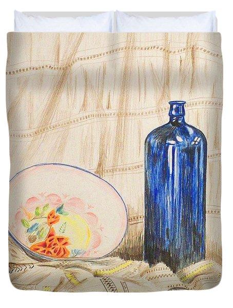Still-life With Blue Bottle Duvet Cover by Alan Hogan