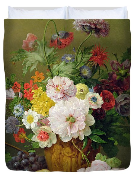 Still Life With Flowers And Fruit Duvet Cover by Anthony Obermann