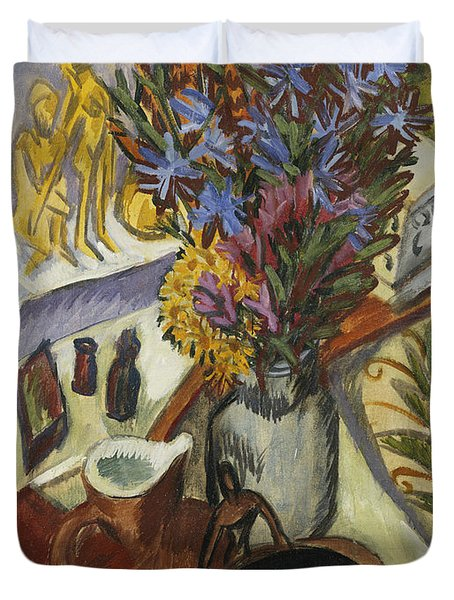 Still Life With Jug And African Bowl Duvet Cover by Ernst Ludwig Kirchner