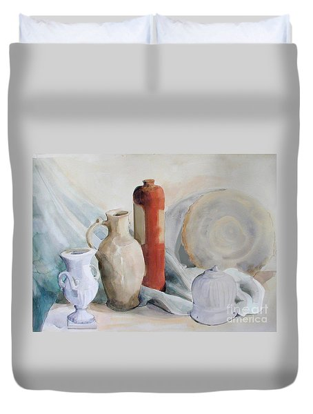Still Life With Pottery And Stone Duvet Cover by Greta Corens